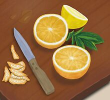 Citrus. Still Life. Digitally Painted Orange and Lemon Slices by ibadishi
