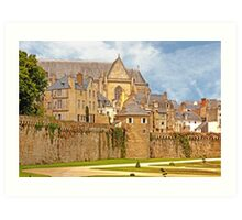 Remparts and City Skyline of Vannes - Morbihan France Art Print
