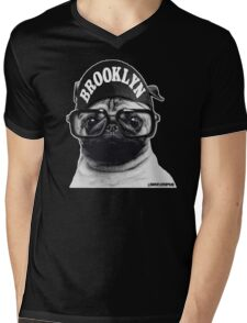 SPIKE PUG. Mens V-Neck T-Shirt