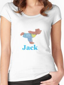 Jack with Grizzly Yoga Bear Women's Fitted Scoop T-Shirt