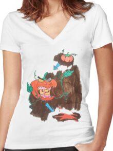 Killer Tomato Evolution Women's Fitted V-Neck T-Shirt