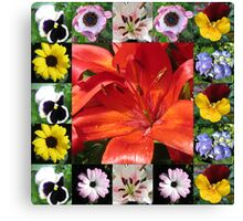 Floral Collage Featuring Orange Lily Canvas Print