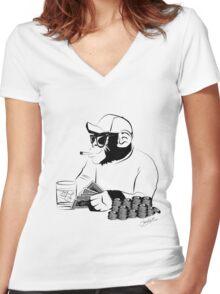 Chimp poker Women's Fitted V-Neck T-Shirt