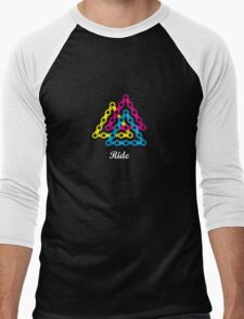 Ride / Chain / Solid Color Men's Baseball ¾ T-Shirt