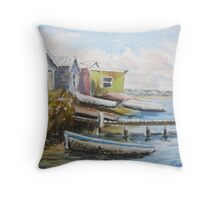 Fishing shacks, Kororoit Creek, Williamstown Throw Pillow