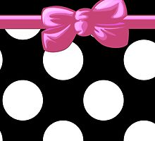 Polka Dots, Ribbon and Bow, White Black Pink  by sitnica