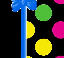 Colorful Polka Dots, Ribbon and Bow, Pink Blue Green by sitnica