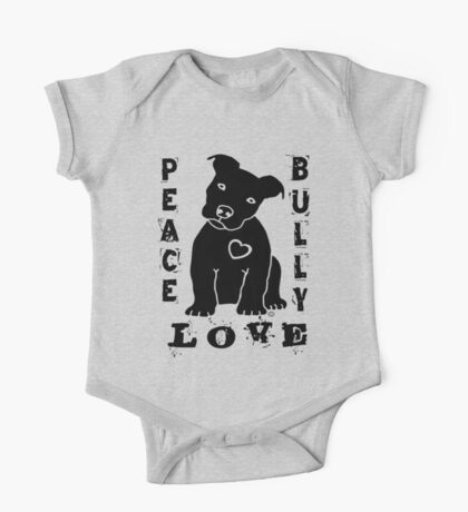 Peace Love Bully - Pit Bull One Piece - Short Sleeve