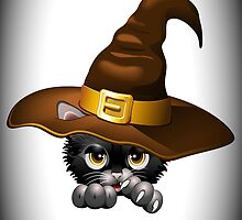 Black Kitten Cartoon With Witch Hat by BluedarkArt