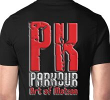 Parkour, PK, Art of Motion, French, Training, on Black Unisex T-Shirt