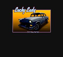 Lucky Lady the Tri-5 Chevy Rat Rod T-Shirt Womens Fitted T-Shirt