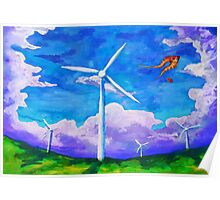 Kites and Turbines Poster