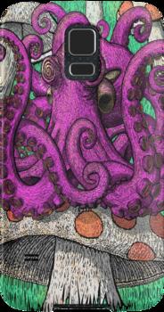 Octopus on Mushrooms by Octomanart