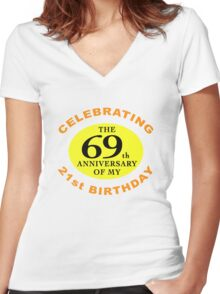 Funny 90th Birthday (Anniversary) Women's Fitted V-Neck T-Shirt