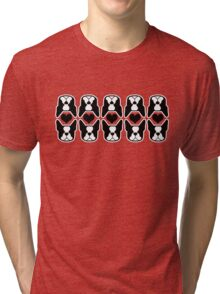 I love my Boston Terrier - Bosties and heart pattern Tri-blend T-Shirt