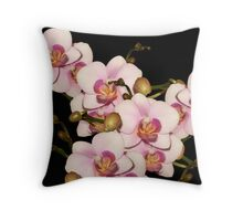 Pink Orchids on dark background Throw Pillow