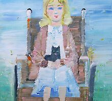 YOUNG GIRL(with cat) ON WHEELCHAIR by lautir