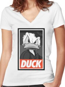 DUCK (Donald Duck) Women's Fitted V-Neck T-Shirt