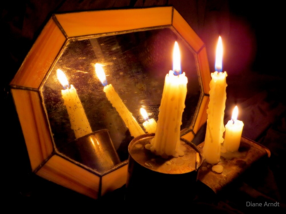 Old Mirror By Candlelight by Diane Arndt