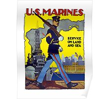 U.S. Marines -- Service On Land And Sea Poster