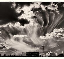 Sky Wisps, over a Double Decker - Evening Skies BW by RunnyCustard