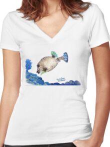 Casper - Ocean Series Tropical Fish Women's Fitted V-Neck T-Shirt