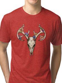 Floral Stag Skull Tri-blend T-Shirt