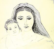 Mary and Jesus by evonealawi