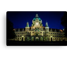 night shot of the town hall of hanover Canvas Print