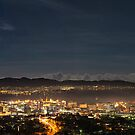 Moonlight vista of Hobart with Spectra by Ryoji Ikeda by Anthony Davey