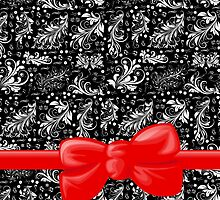 Venetian Damask, Ribbon and Bow, Black White Red by sitnica