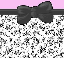 Venetian Damask, Ribbon and Bow, Black White Gray Pink by sitnica