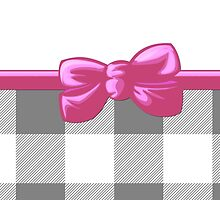 Ribbon, Bow, Gingham Pattern - Gray White Pink by sitnica