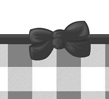 Trendy Chic Gingham, Ribbon and Bow, Gray White  by sitnica