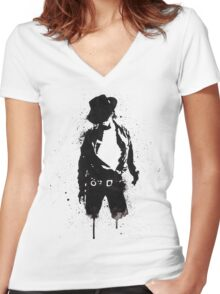 Michael Jackson ink Portrait Women's Fitted V-Neck T-Shirt
