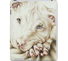 White Pit Bull Dog Drawing iPad Case/Skin
