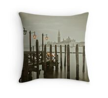 Misty Morning in Venice Throw Pillow