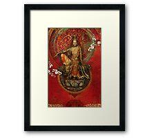 Kwanyin on Red Framed Print