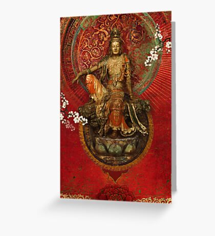 Kwanyin on Red Greeting Card