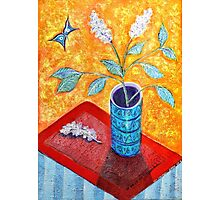 Van Gogh's Style White Lilac and Butterfly Photographic Print
