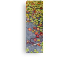Lily pads on One Mile Lake, watercolor on paper mounted on board Canvas Print