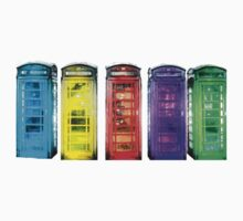 Real Photo of Beautifull Old Battered British Phone Boxes with added colour Kids Tee