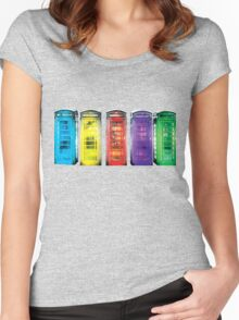 Real Photo of Beautifull Old Battered British Phone Boxes with added colour Women's Fitted Scoop T-Shirt