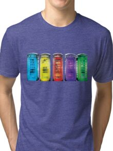 Real Photo of Beautifull Old Battered British Phone Boxes with added colour Tri-blend T-Shirt