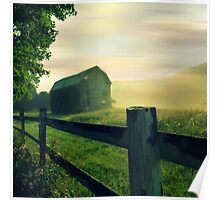 Misty Morning Barn No. 2 landscape photography rustic barn Poster