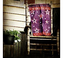 Old Chair and Starry Flag cozy front porch photography Photographic Print
