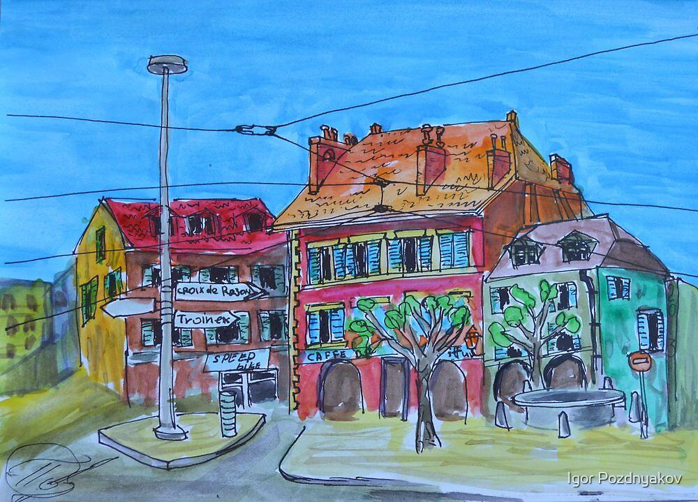 Watercolor Sketch - Rondeau de Carouge. 2013 by Igor Pozdnyakov