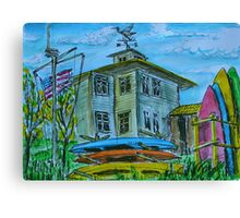 Watercolor Sketch - Shoreline Park. Aquatic Center Building. Mountain View, CA Canvas Print