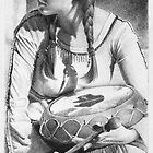 American Indian Woman with drum by David J. Vanderpool