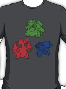 Kanto Coloured Silohouette Starters (Triangle) T-Shirt